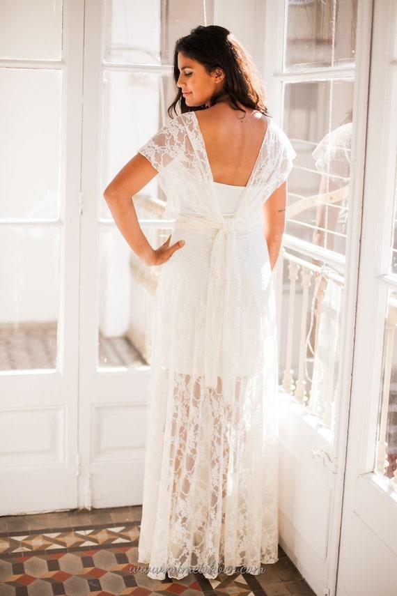 Illusion skirt wedding dress Illusion wedding dress Lace | Etsy
