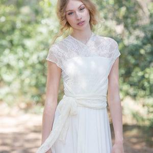 Rustic lace wedding dress ivory wedding dress lace overlay | Etsy