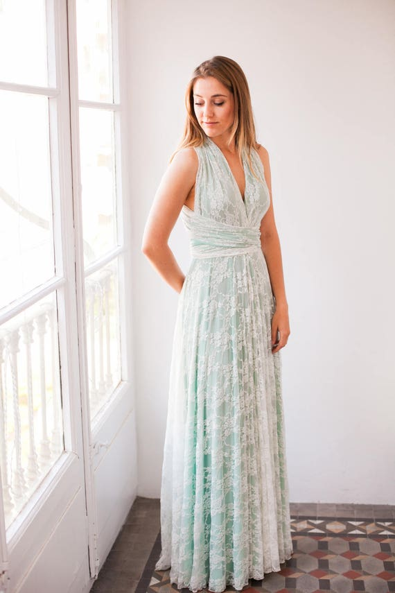 Pastel Green Wedding Dress Pastel Wedding Dress Pale Green Etsy