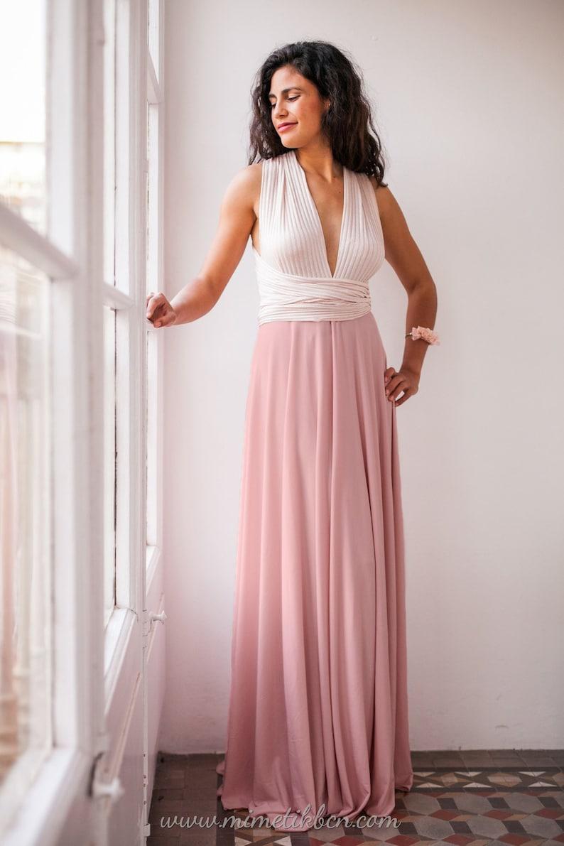 Rose Pink Long Dress Rose Bridesmaid Dress Shiny Blush Pink Dress Rose Prom Dress Formal Dress Rose Pink Pink Wedding Guest Dress