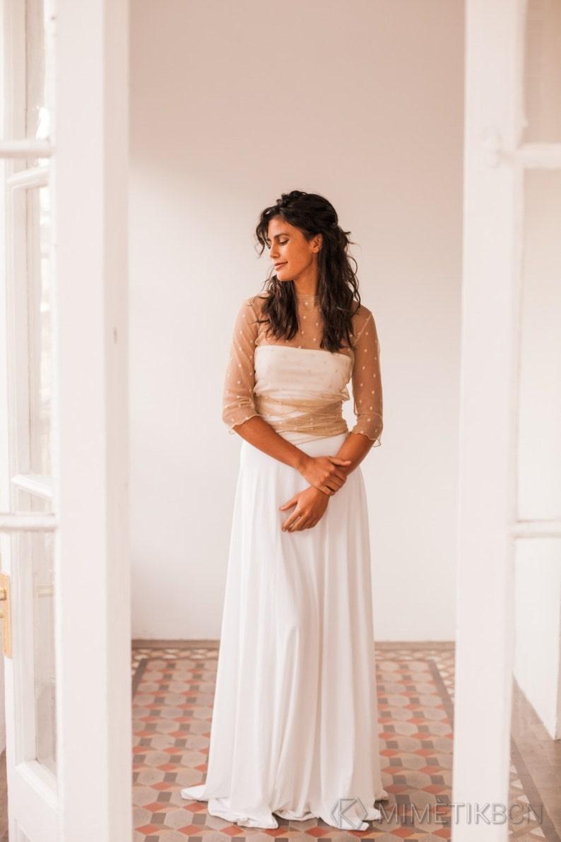 6455dc71087b Simple polka dot wedding sleeves dress beige dot bridal gown
