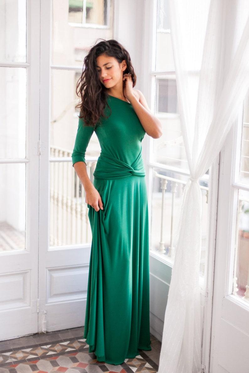 96183628c Vestido verde esmeralda vestido largo cruzado verde vestido