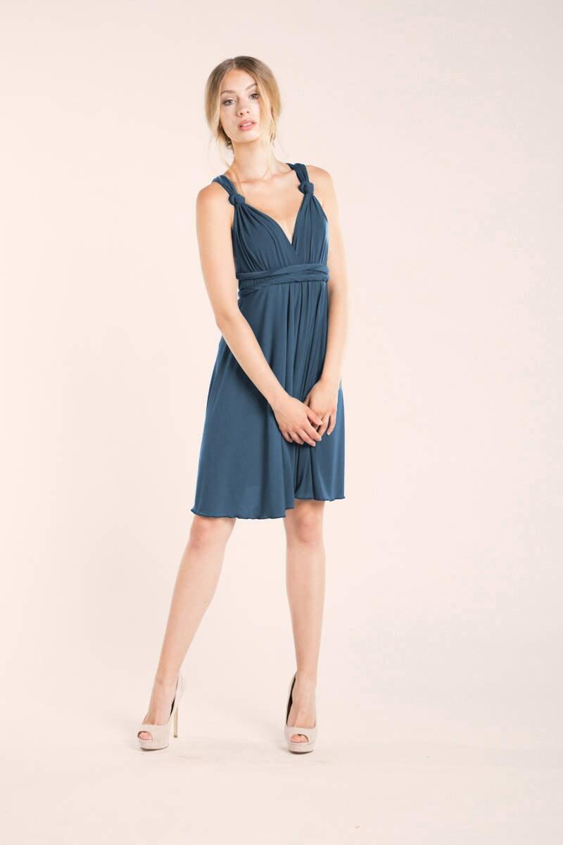 bfea95a260 Vestido corto azul indigo vestido convertible azul añil
