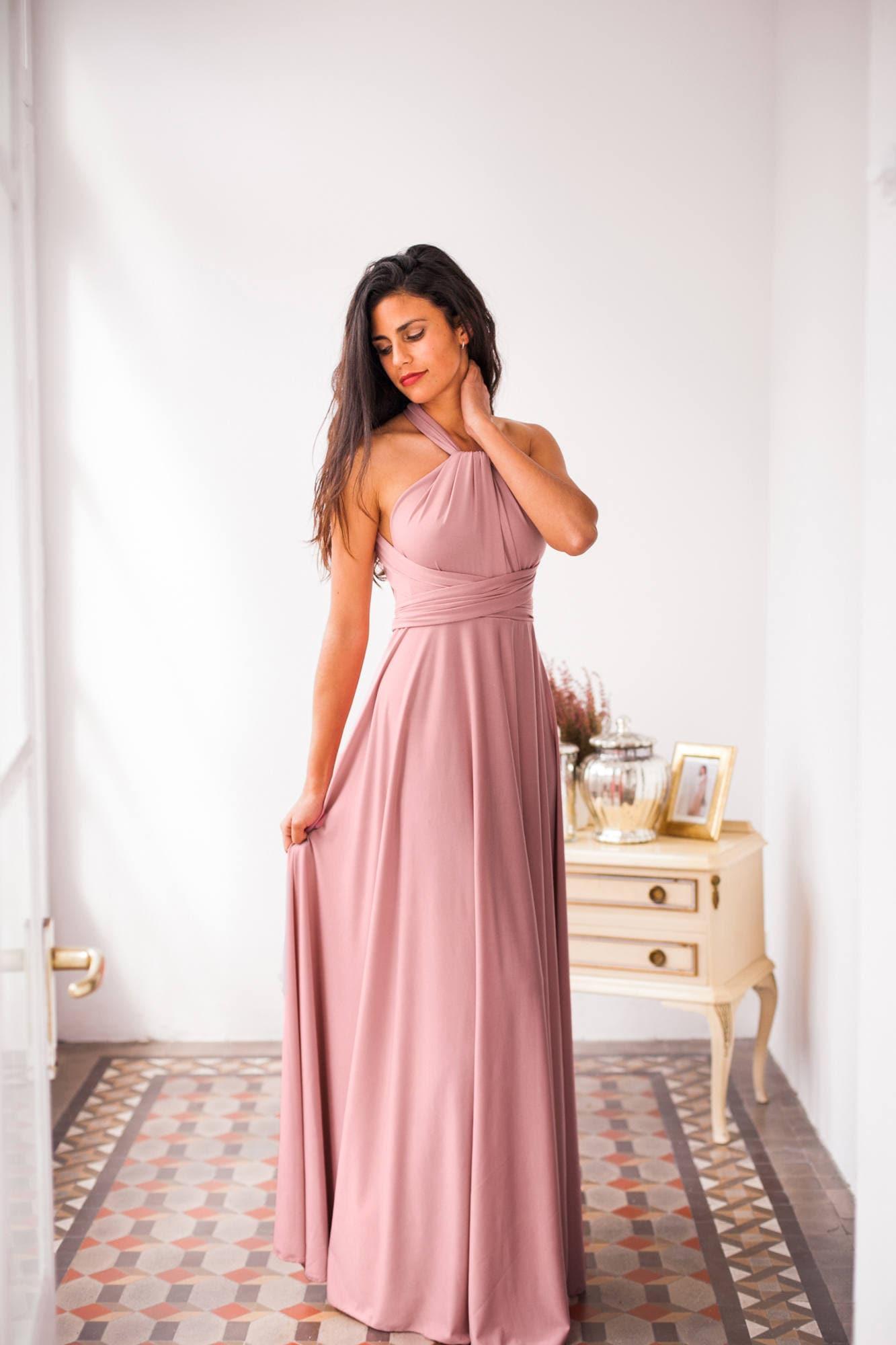 Vestido romantico rosa palo vestido largo de fiesta vestido | Etsy