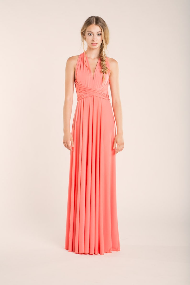 coral halter bridesmaid dress