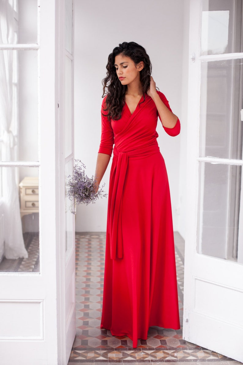 4ceb3f0a32bf Long red dress long wrap dress red 3 4 sleeve gown red long