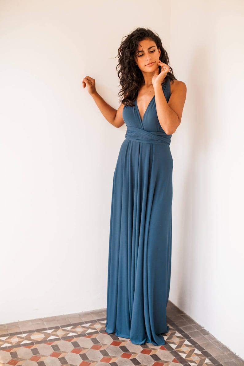 112d9949b7a Aegean blue dress Indigo blue long dress Slate blue