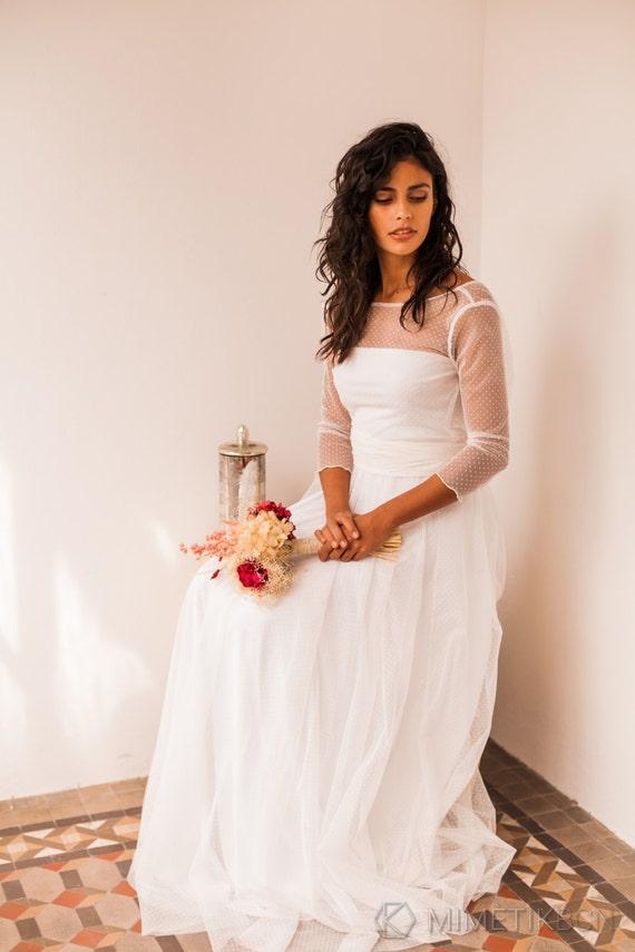 Wedding dress tulle wedding dress long sleeve wedding dress   Etsy