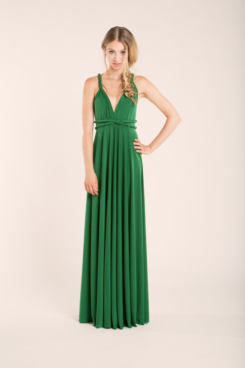 7c09032a8e606c Groene converteerbare jurk groene lange japon lange groene