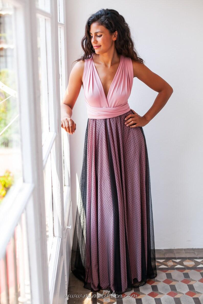 bb5015957c Vestido color rosa empolvado Vestido de tul Vestido dama de