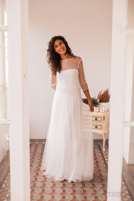 Polka Dots Wedding Dress Bridal Gown Polka Dots Tulle Etsy