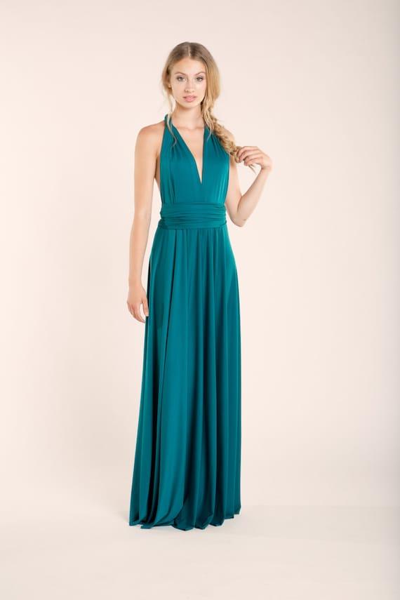 Grun Blau Langes Kleid Maxi Kleid Brautjungfernkleid Etsy
