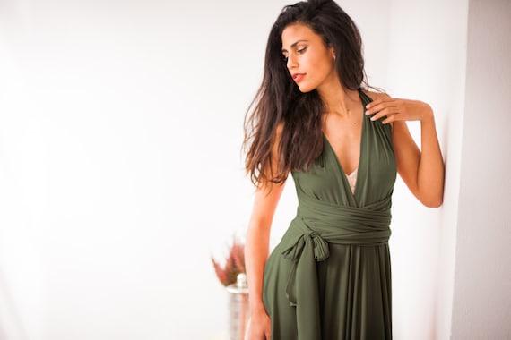 Accesorios para vestido verde olivo