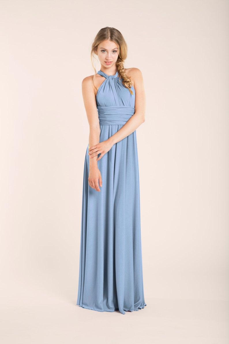 c62a299ee9 Vestido dama de honor azul claro vestido largo azul palo