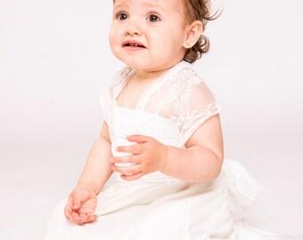 Flower girl dress, baby dress, baby flower girl dress, flower girl lace dress, baby bridesmaid, flower girl dresses, wrap dress, flower girl
