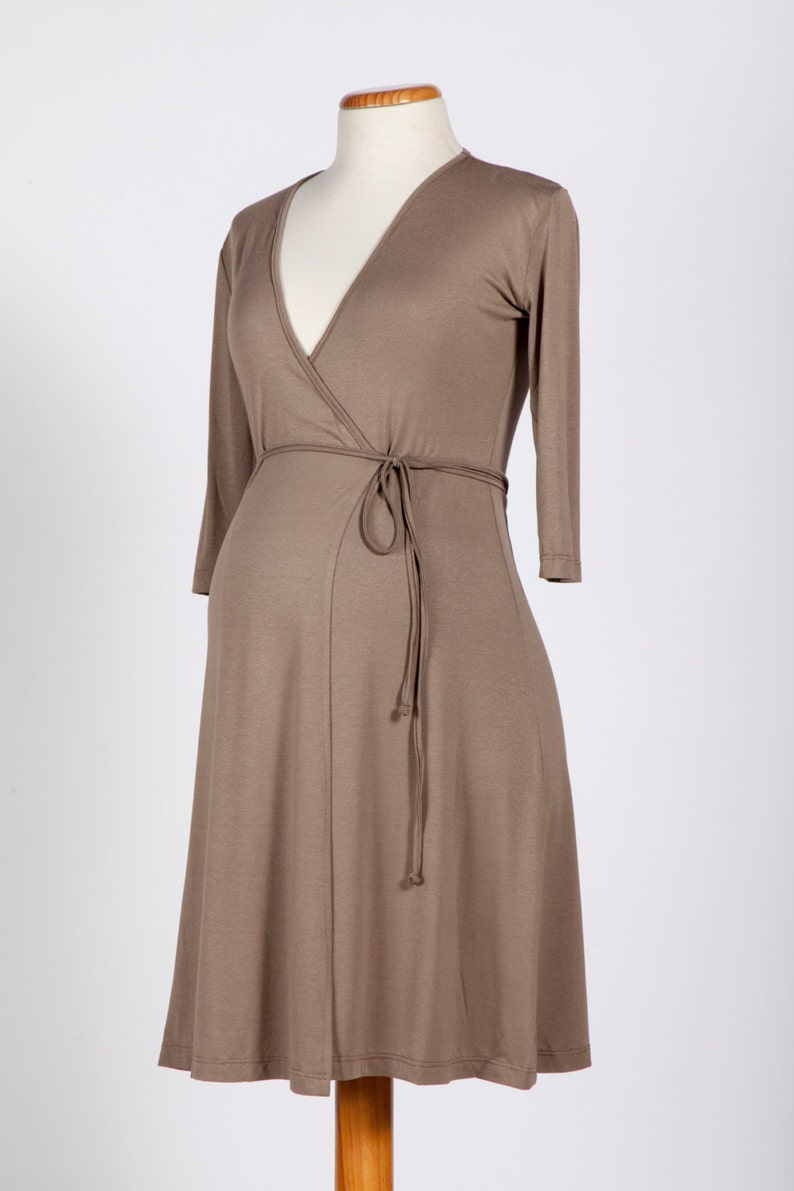 c63d00fcf816b Taupe maternity wrap dress beige maternity dress maternity | Etsy