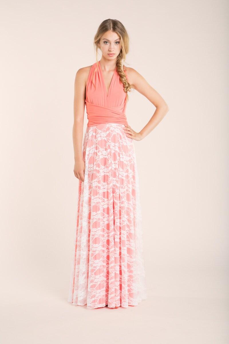 Coral pink lace bridesmaid dress long coral lace dress coral