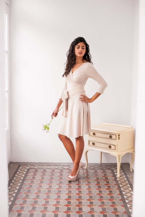 Versatile Champagner Brautjungfer kurze Kleid kurze Beige