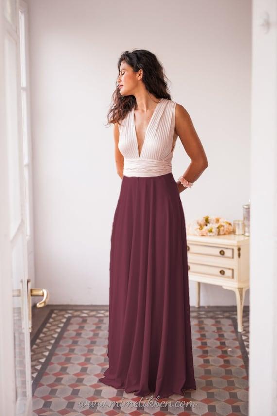 Color block prom dress Formal colour block dress Blush pink  01320c67a