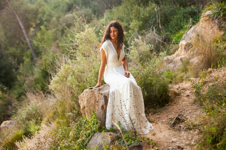 Plunging wedding dress wedding dresses lace bridal gown image 0