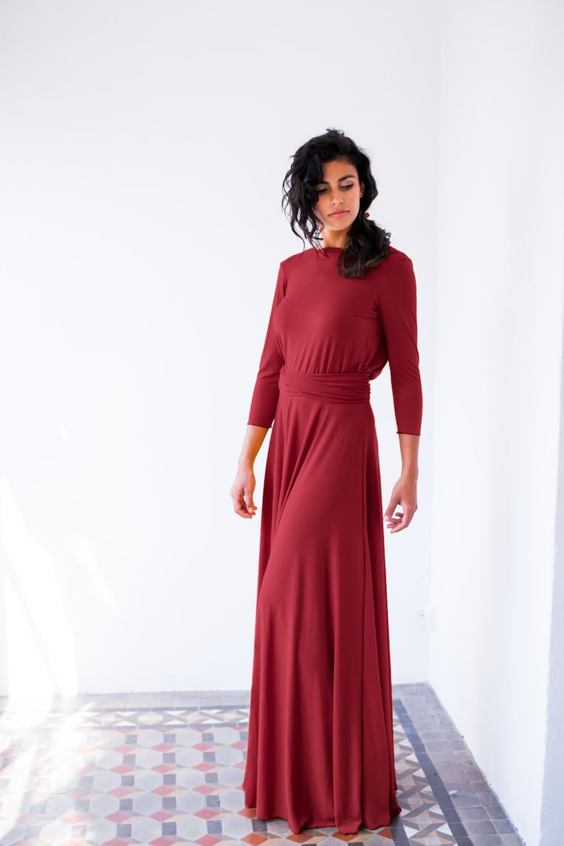 f18947ab1f Bordeaux long sleeve evening dress oxblood red maxi dress