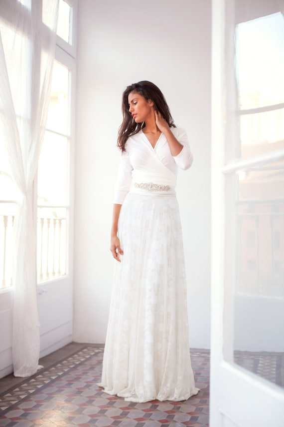 Multi Way Wedding Dress With Sleeve 3 4 Sleeve Wedding Dress Lace Long Sleeve Wedding Dress Ivory Lace Wedding Dress Wrap Wedding Dress