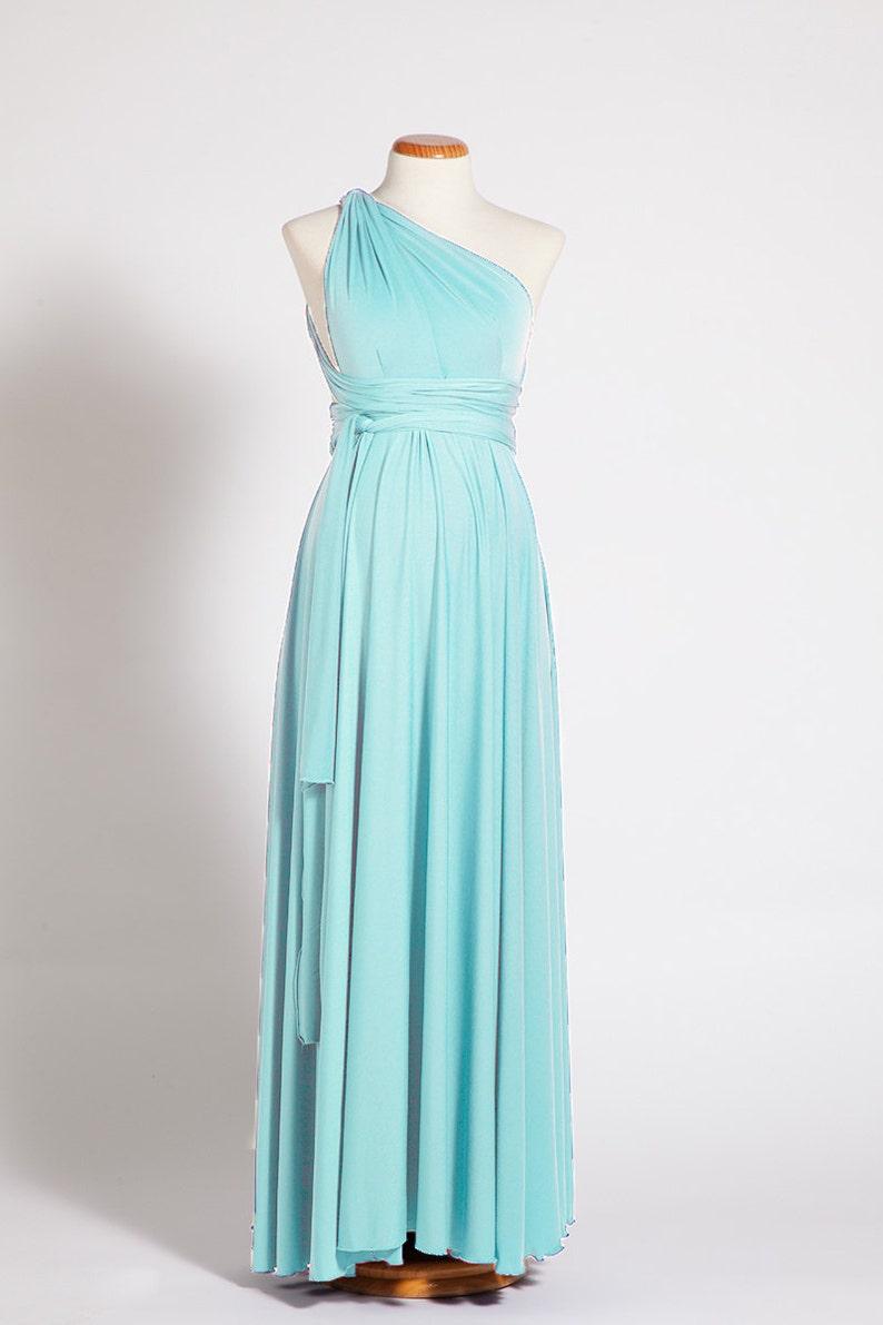 a2db119a16 Vestido Premamá azul turquesa Vestidos Baby Shower Vestidos