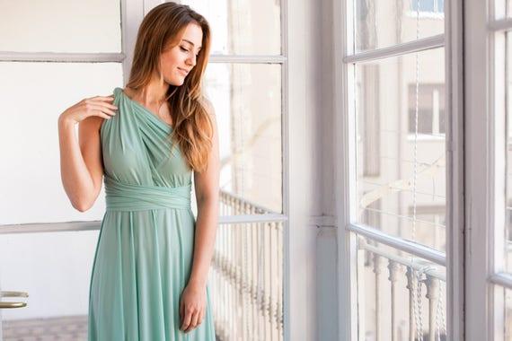 Sage Green Bridesmaid Dress Sage Green Infinity Dress Long Etsy