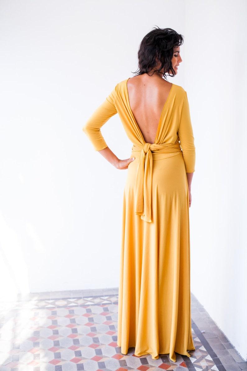 3fc6f2219 Vestido de fiesta de manga larga maxi vestido mostaza