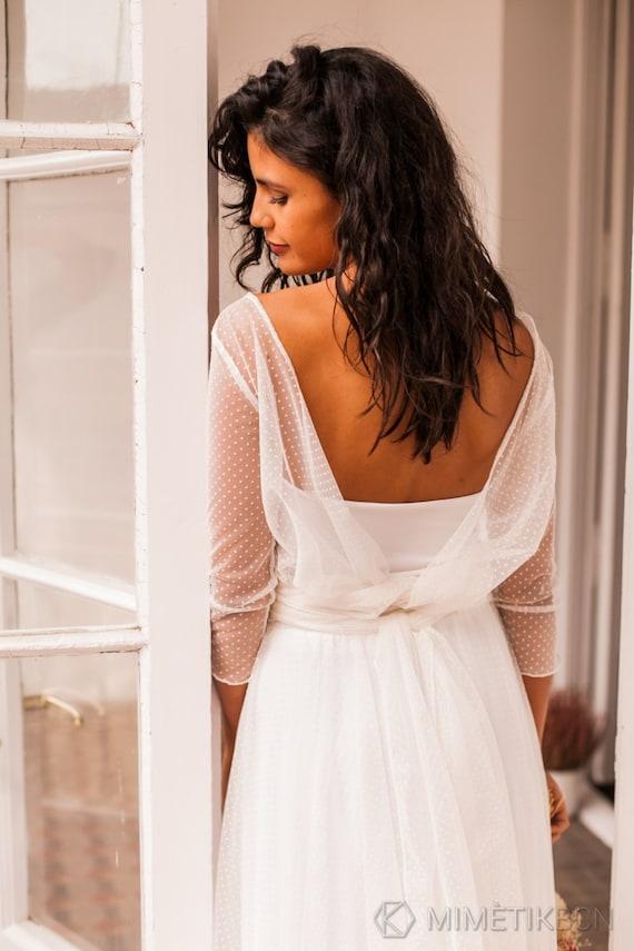 Wedding Bolero White Ivory Soft Tulle Top Bridal Shoulder Strap Wrap For Dresses