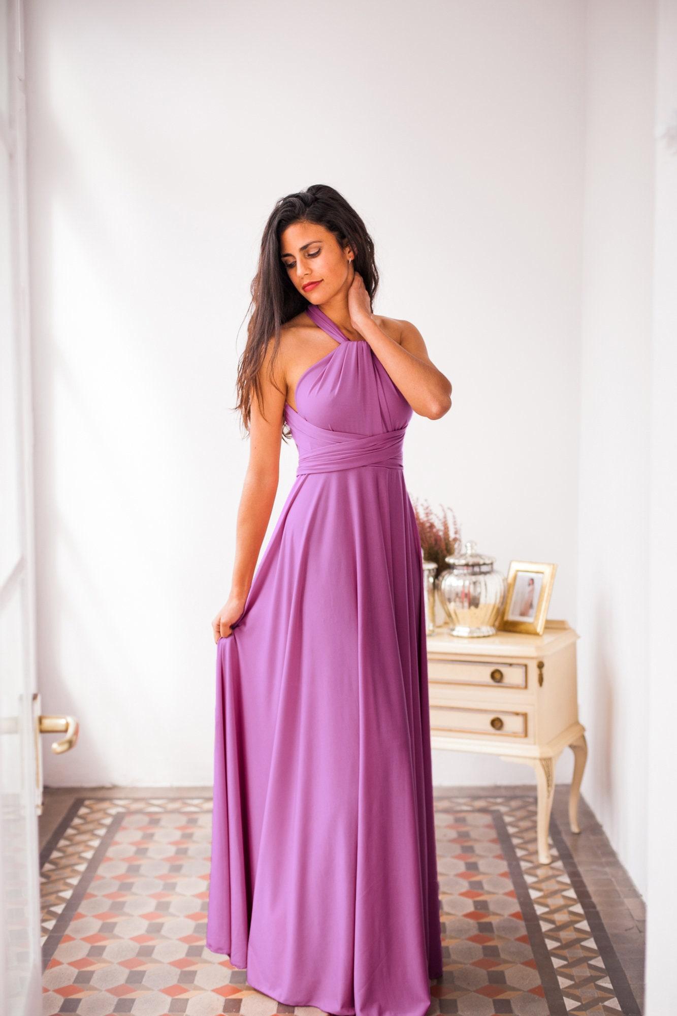 Vestido largo violeta Vestido lila de noche Vestido de noche