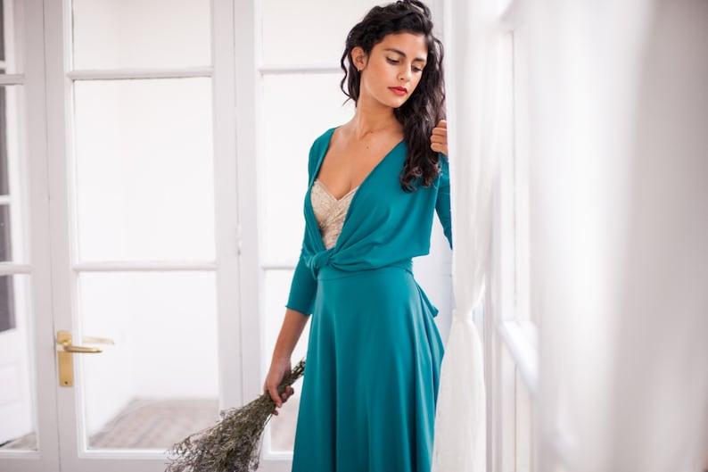 0480b1fcbbe5 Long convertible turquoise dress turquoise wrap dress long