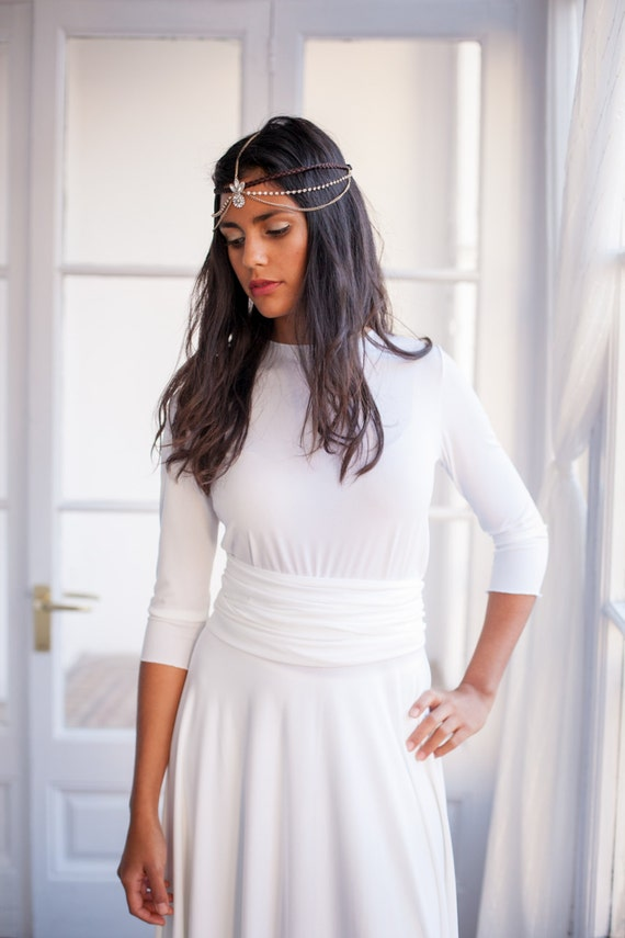 Long Sleeved Wedding Dress Ivory White Bridal Gown With 34 Etsy