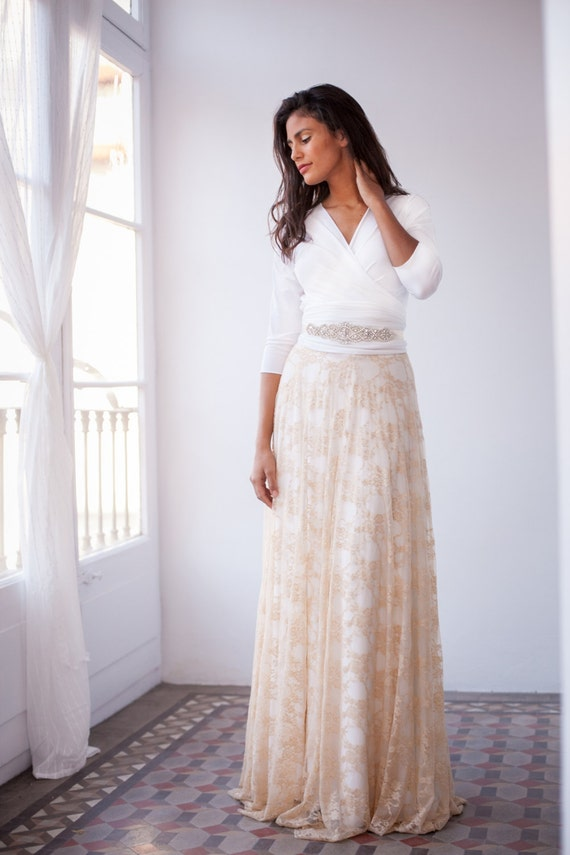 Modest wedding dress quick delivery wedding dress champagne   Etsy