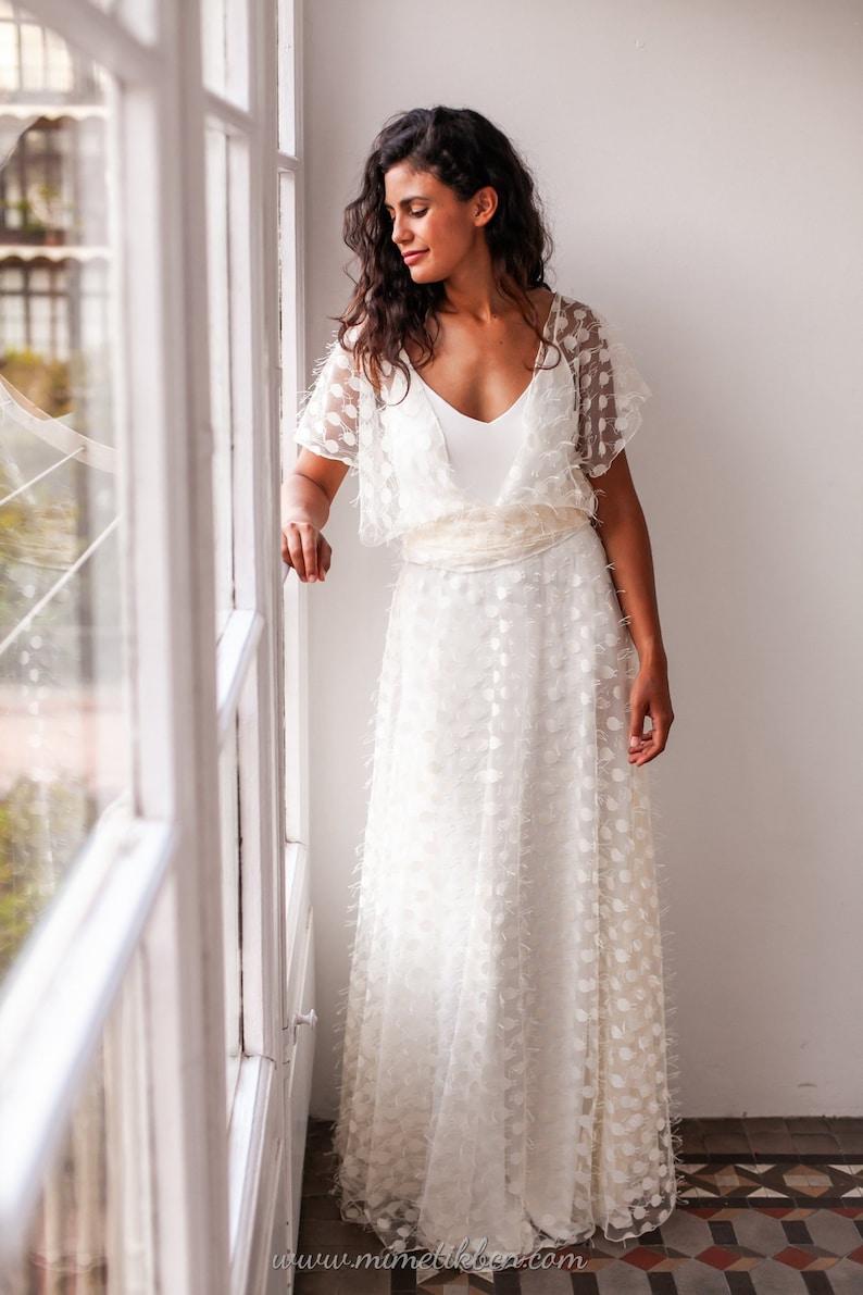 38b679b5760 Loose sleeve wedding dress Loose wedding dress tulle Polka