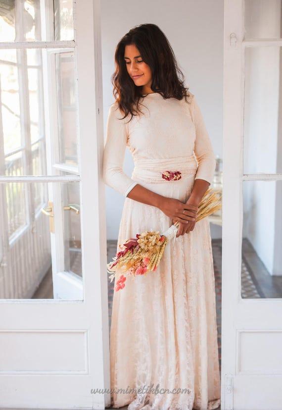 Wedding dress long sleeve Rose quartz lace wedding dress with | Etsy