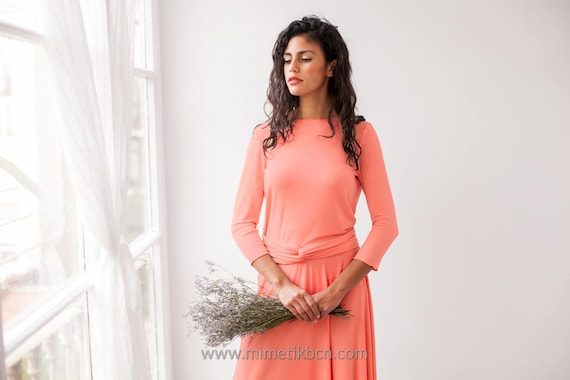Licht Roze Jurk : Poeder roze jurk met mouwen lange mouwen blozen roze jurk etsy