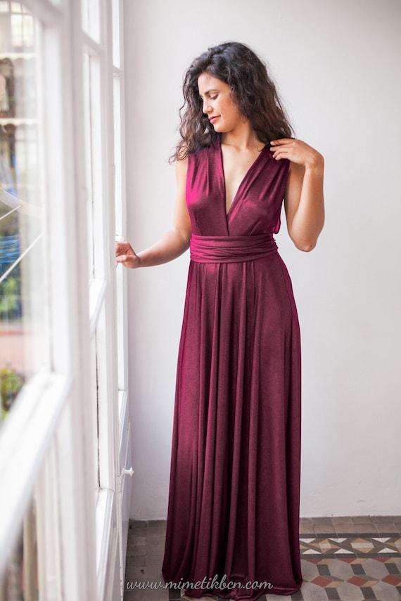Vestidos elegantes largos color vino