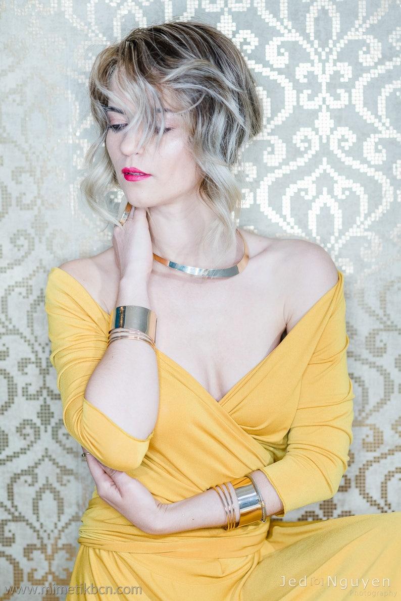 ecd4bc2a7 Vestido de fiesta de manga larga maxi vestido mostaza