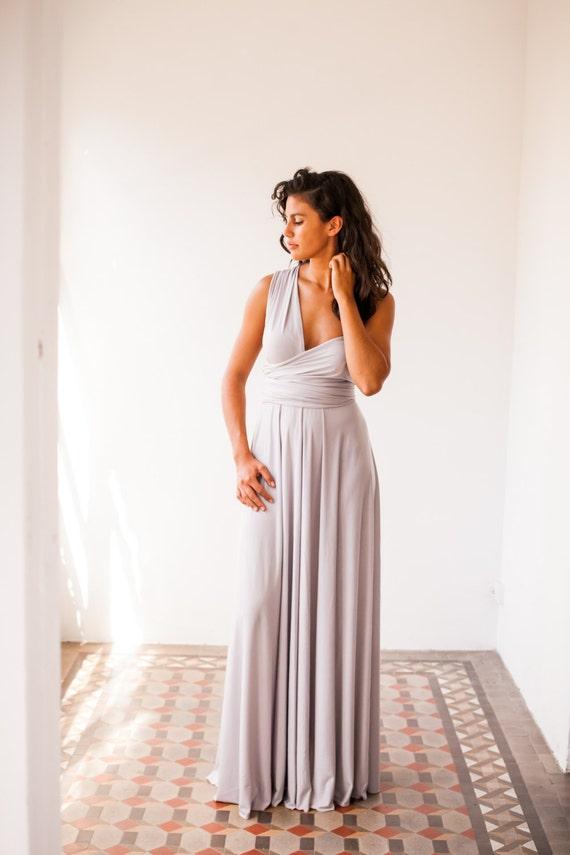 Pearl grey long dress, light grey infinity dress long, bridesmaid dress, prom dress, grey maxi dress, long grey dress, party dress, formal