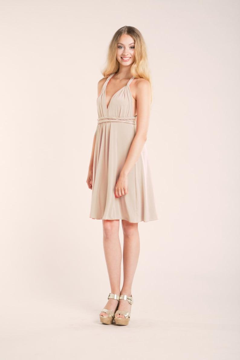 a7369d7ee8d Champagne bridesmaid dress short convertible dress beige