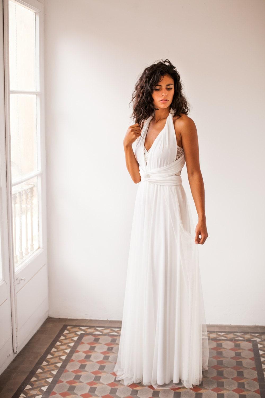 Durchscheinend Tüll Brautkleid fließendes Tüll Kleid