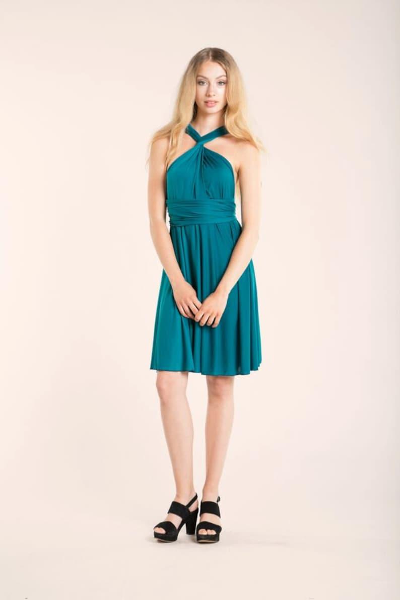 Vestido fiesta verde azulado