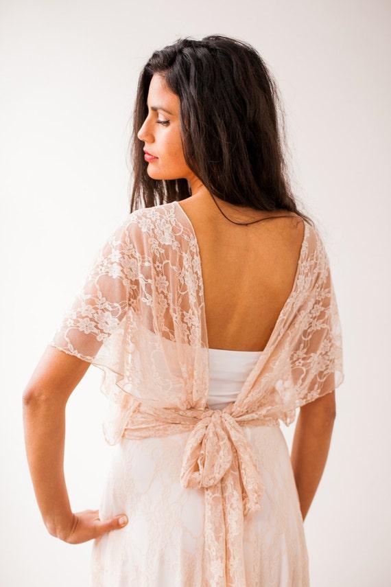 Romantic lace wrap top wedding top open back ivory lace cover up wedding rose gold cover-up detachable lace straps versatile lace top