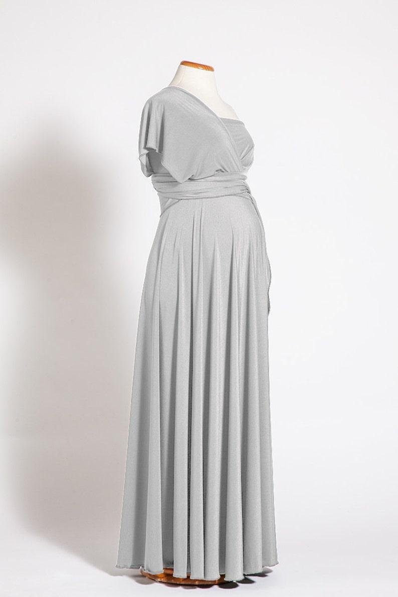 3717bd47fbe Pearl gray maternity dress long infinity maternity dress
