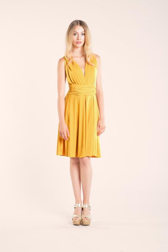 Short yellow dress mustard yellow infinity dress yellow | Etsy