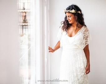 Grecian wedding dress, Grecian goddess dress, Soft lace wedding dress, Wedding dress greece, Grecian dress lace, White lace dress