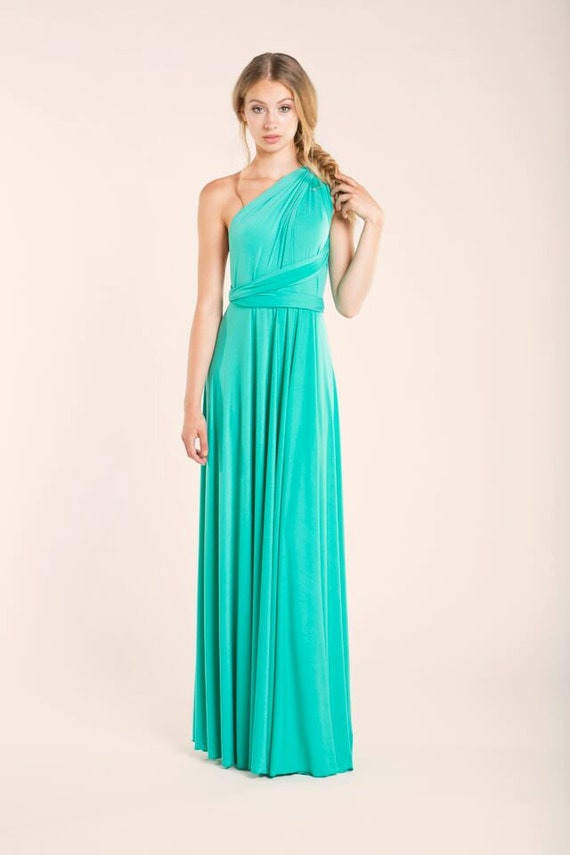 Vestido largo de color turquesa