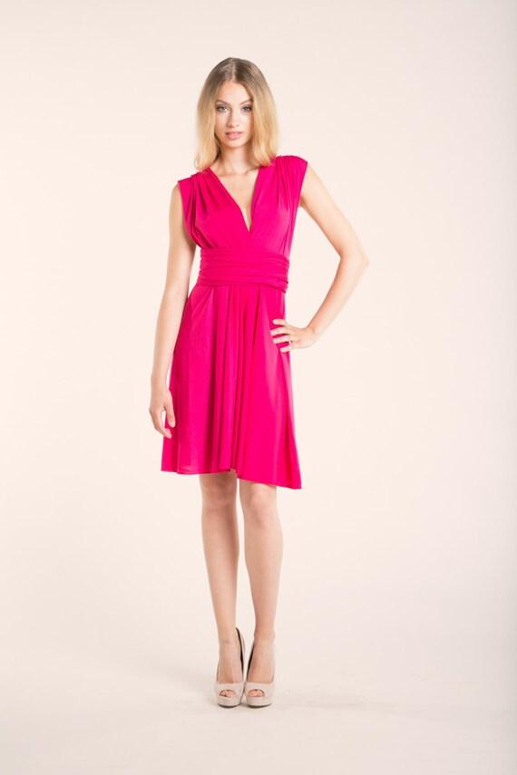 Sale Short Pink Dress Hot Pink Short Dress Knee Length Etsy