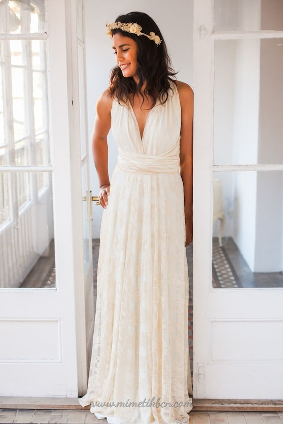 Beach style wedding dress, lace beach bridal gown, lace wedding dress, multi way wedding dress, long lace dress, long white dress wedding